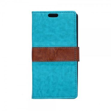 Alcatel One Touch Idol 3 5.5 Zweifarbiges Crazy Horse Leder Case - blau