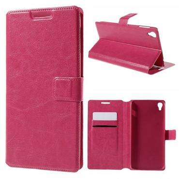 Alcatel One Touch Idol 3 5.5 Crazy Horse Leder Flip Case mit Standfunktion - rosa