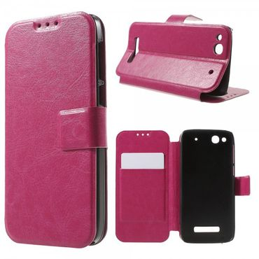 Alcatel One Touch Idol Alpha Crazy Horse Leder Case - rosa