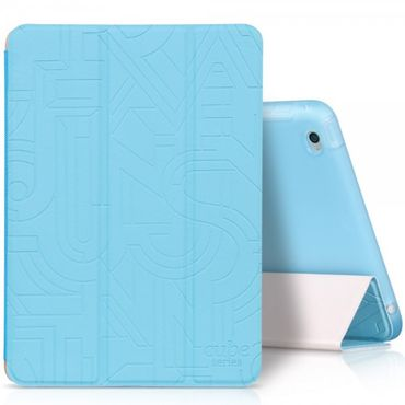 iPad Mini 4 Hoco Cube Series Dreifach faltbares Leder Smart Case mit Standfunktion - blau