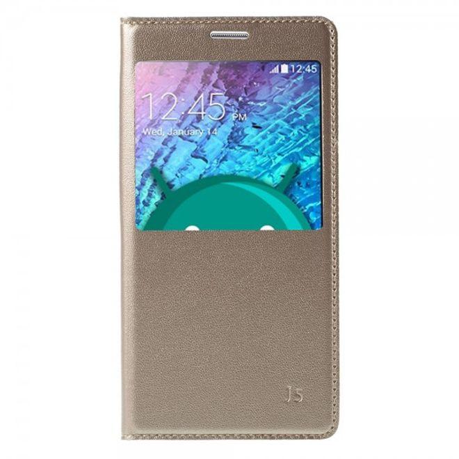 Samsung Galaxy J5 Leder Case mit Plastik Batterieabdeckung und kleinem Fenster - champagnerfarben