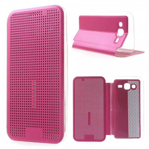 Samsung Galaxy J5 Dot View Leder Smart Case - rosa