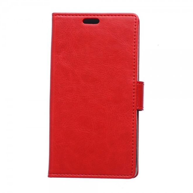 Sony Xperia E4g/E4g Dual Crazy Horse Leder Case mit Standfunktion - rot