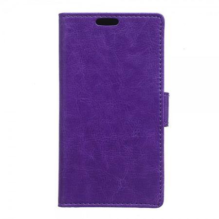 Sony Xperia E4g/E4g Dual Crazy Horse Leder Case mit Standfunktion - purpur