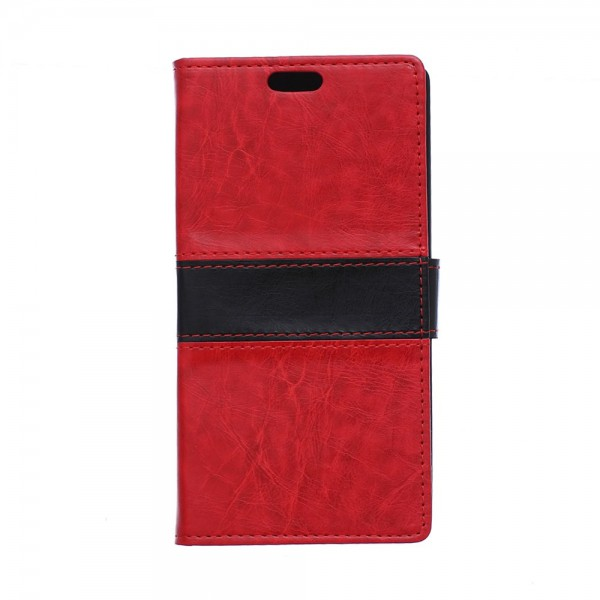 Sony Xperia E4g/E4g Dual Zweifarbiges Crazy Horse Leder Case mit Kreditkartenslots - rot