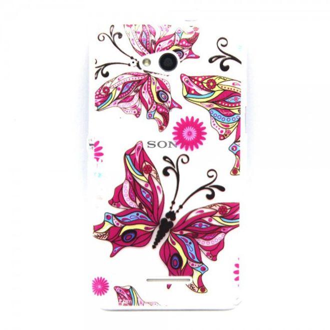 Sony Xperia E4g/E4g Dual Geprägtes, elastisches Plastik Case mit grossen Schmetterlingen