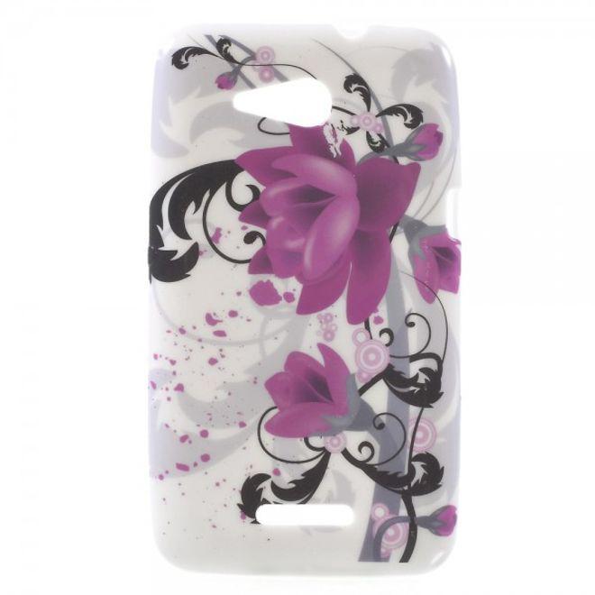 Sony Xperia E4g/E4g Dual Leicht glänzendes, elastisches Plastik Case mit Lotus Blumen
