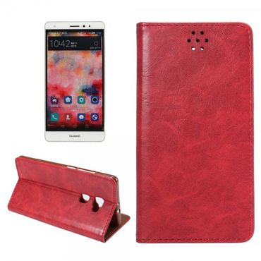 Huawei Mate S Magnetisches Crazy Horse Leder Flip Case - rot