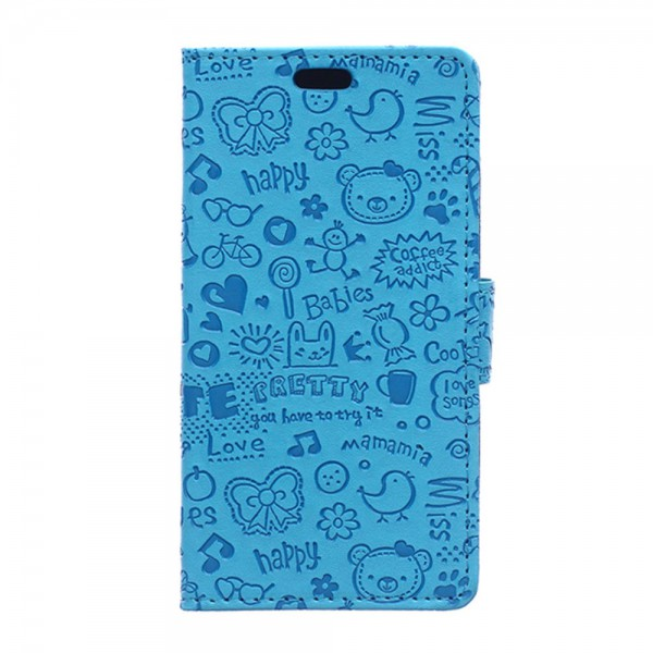 LG G4s/G4 Beat Leder Case mit Cartoon Graffiti und Standfunktion - blau