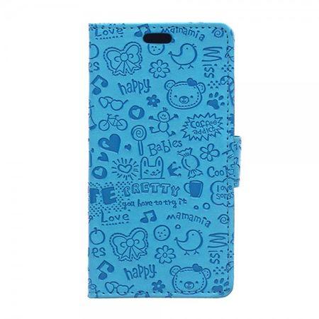 LG G4s/G4 Beat Leder Case mit Cartoon Graffiti und Standfunktion - blau