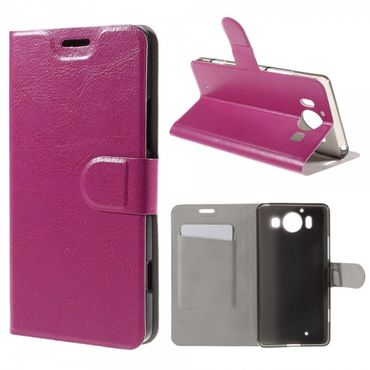 Microsoft Lumia 950 Crazy Horse Leder Case mit Standfunktion - rosa