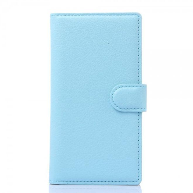ZTE Blade L2 Schickes Leder Case mit Litchitextur und Kreditkartenslots - hellblau