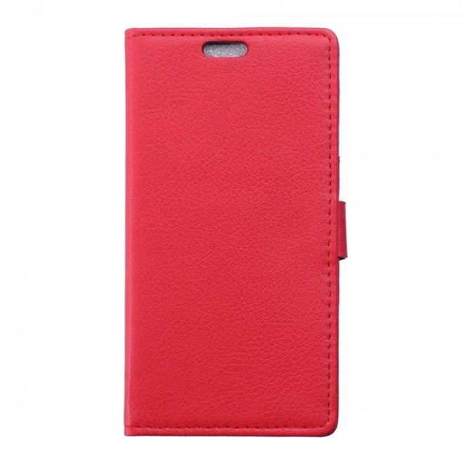 ZTE Blade S6 Schickes Leder Case mit Litchitextur und Standfunktion - rot