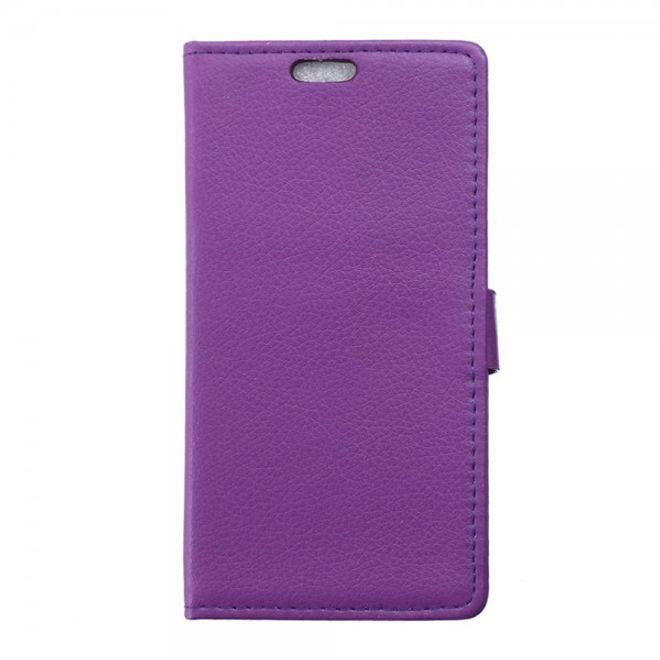 ZTE Blade S6 Schickes Leder Case mit Litchitextur und Standfunktion - purpur