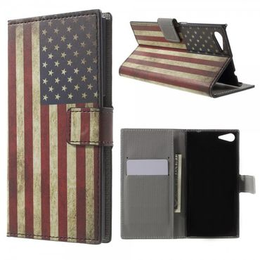 Wiko Highway Star 4G Leder Case mit USA Flagge retro-style