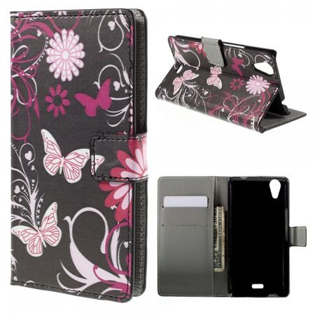 Wiko Rainbow Up Leder Case mit Schmetterlingen und Blumen - schwarz