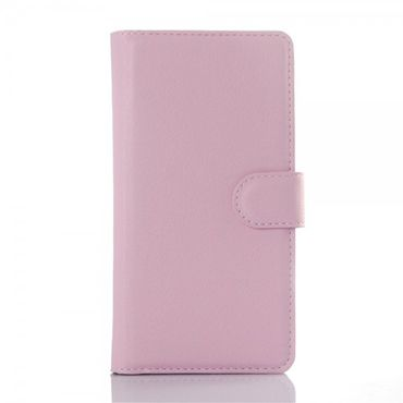 Wiko Rainbow Up Leder Case mit Litchitextur - pink