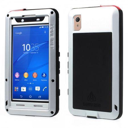 Sony Xperia Z4/Z3+/Z3+ Dual LOVE MEI Ultrarobustes Metall, Silikon und gehärtetes Glas Case - silber