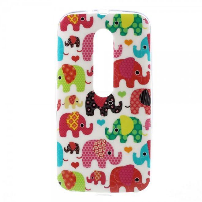 Motorola Moto G (3 Gen) Elastisches Plastik Case mit farbigen Elefanten