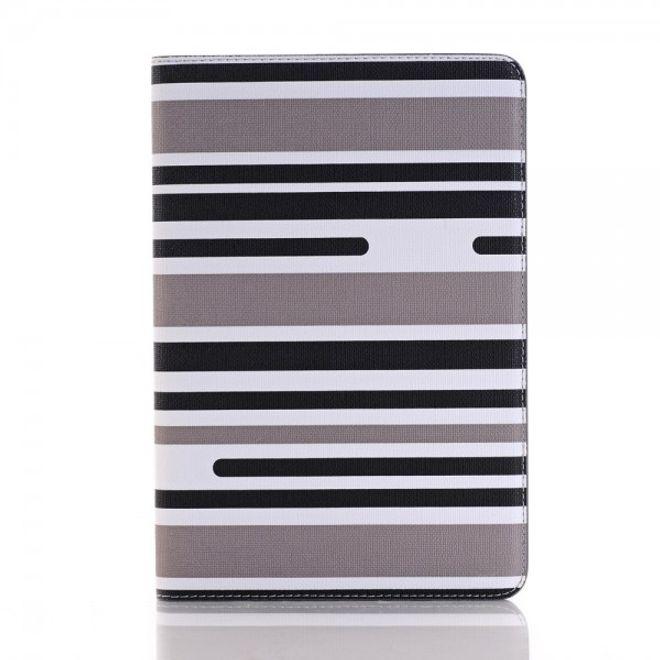 iPad Mini 4 Leder Flip Case mit modischen Streifen - grau