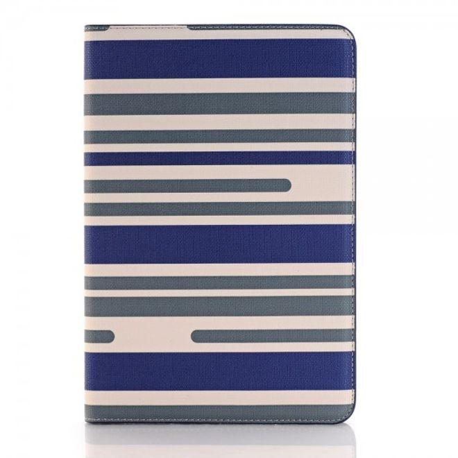 iPad Mini 4 Leder Flip Case mit modischen Streifen - blau