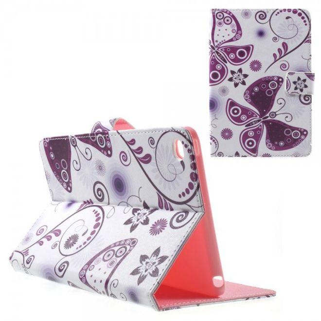 iPad Mini 4 Leder Smart Case mit purpurnen Schmetterlingen und Gänseblümchen