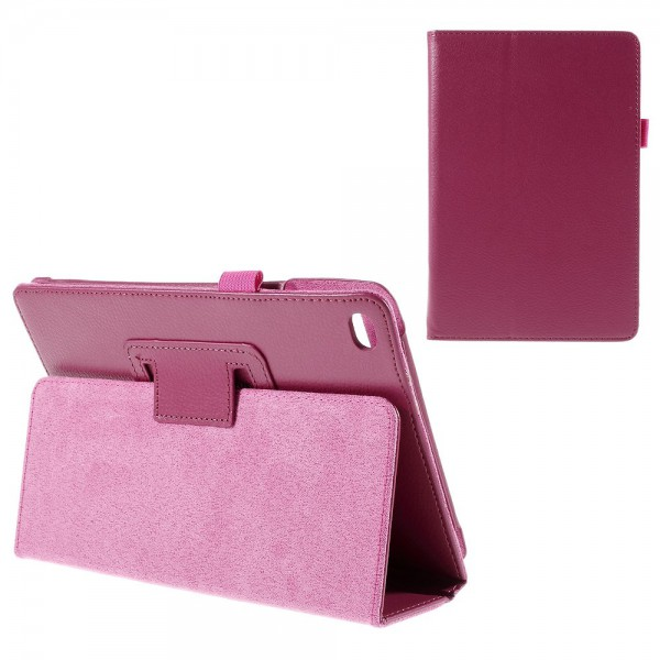 iPad Mini 4 Leder Smart Case mit Litchitextur und Standfunktion - rosa