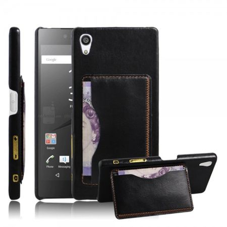 Sony Xperia Z5 Premium/Premium Dual Hart Plastik Case mit lederartiger Oberfläche im Retro Look - schwarz
