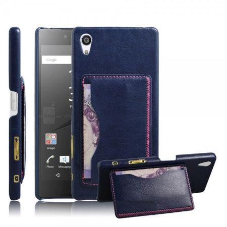 Sony Xperia Z5 Premium/Premium Dual Hart Plastik Case mit lederartiger Oberfläche im Retro Look - blau