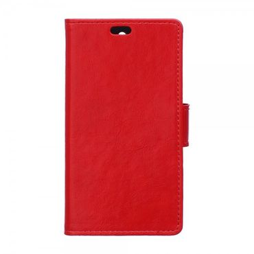 Motorola Moto X Force Schickes Crazy Horse Leder Case mit Standfunktion - rot