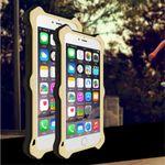 iPhone 6 Plus/6S Plus LOVE MEI MK2 Robuste Metall, Silikon und Echtleder Case Hülle - gold