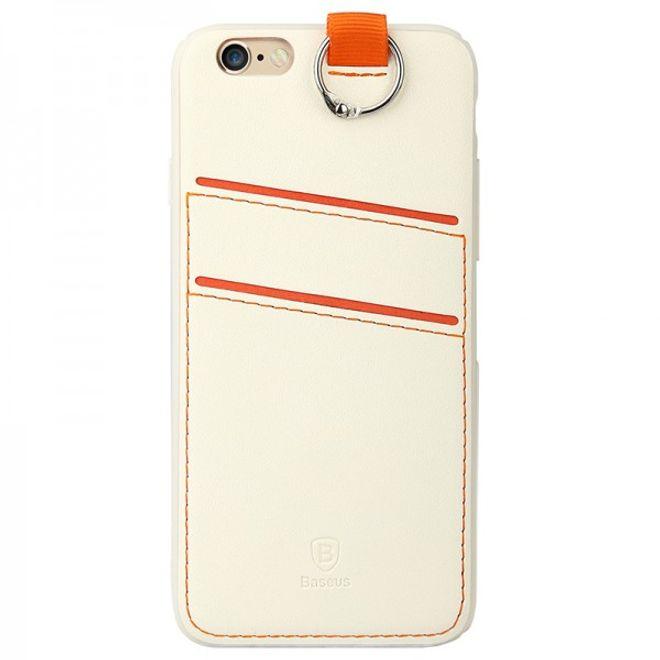 Baseus iPhone 6 Plus/6S Plus Baseus Lang Series Hart Plastik Case mit lederartigem Überzug - weiss