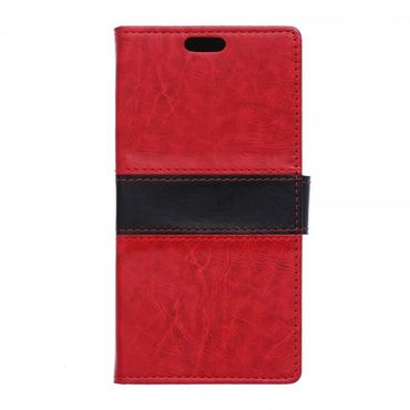 Wiko Bloom2 Zweifarbige Crazy Horse Leder Cover Hülle - rot