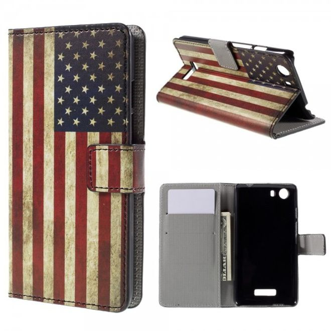 Wiko Bloom2 Leder Case Hülle mit USA Flagge retro-style