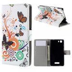 Wiko Bloom2 Leder Case Hülle mit Schmetterlingen und Kreisen