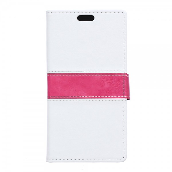 Wiko Lenny2 Zweifarbige Crazy Horse Leder Case Hülle mit Standfunktion - weiss
