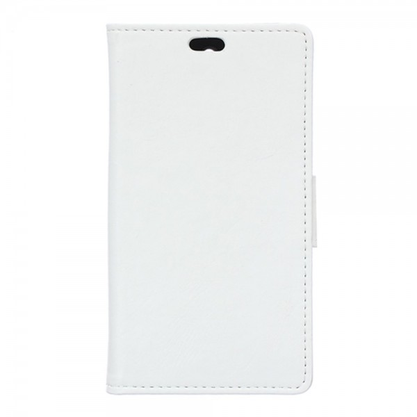 Wiko Selfy 4G Schickes Crazy Horse Leder Case Hülle mit Standfunktion - weiss