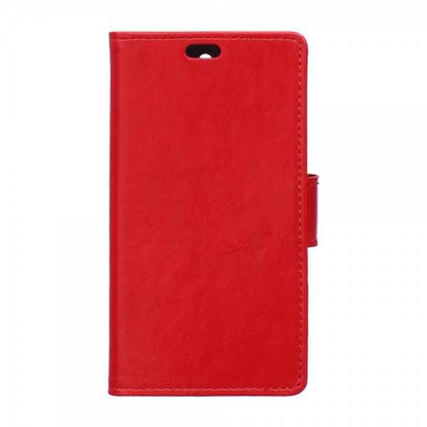 Wiko Selfy 4G Schickes Crazy Horse Leder Case Hülle mit Standfunktion - rot