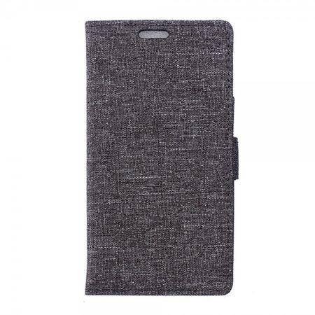 Wiko Selfy 4G Leder Case Hülle mit stoffartiger Textur und Standfunktion - grau