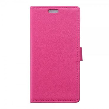 Wiko Sunset2 Leder Cover Case mit Litchitextur und Standfunktion - rosa
