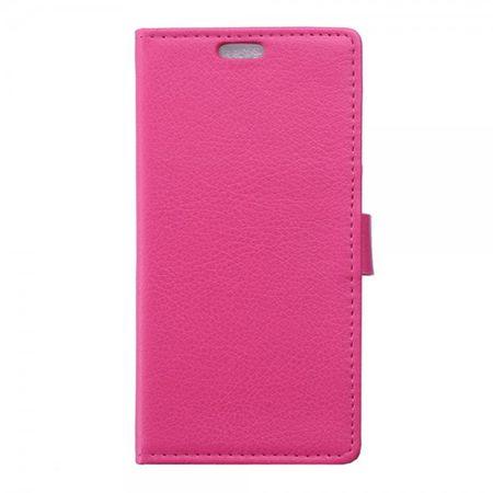 Wiko Sunset2 Leder Cover Case mit Litchitextur und Standfunktion - rosa