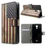 Wiko Wax Leder Case Hülle mit USA Flagge retro-style