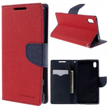 Sony Xperia Z5/Z5 Dual Mercury Goospery Modisches Leder Case mit Standfunktion - rot