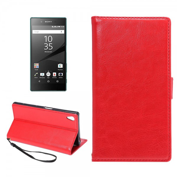 Sony Xperia Z5 Premium/Premium Dual Leder Flip Hülle mit Standfunktion - rot