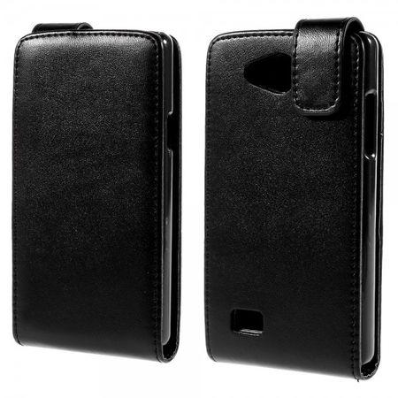 LG Joy Schlichte, magnetische Leder Flip Case Hülle vertikal - schwarz