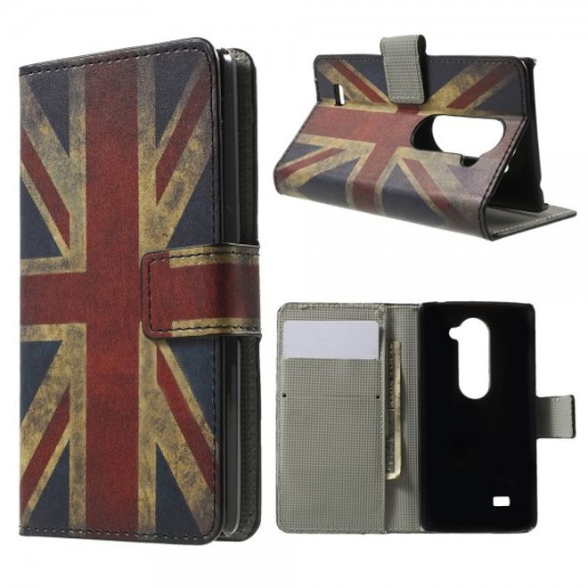 LG Leon Leder Case Hülle mit UK Flagge retro-style