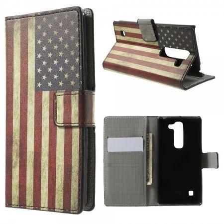 LG Spirit Leder Case Hülle mit USA Flagge retro-style