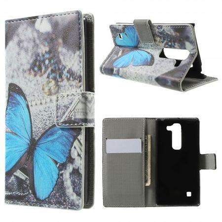 LG Spirit Leder Case Hülle mit wunderschönem, blauem Schmetterling