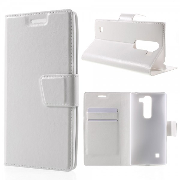 LG Spirit Crazy Horse Leder Cover Case mit Standfunktion - weiss
