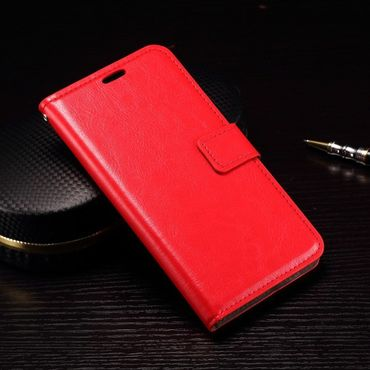 Microsoft Lumia 950 Klassisches Crazy Horse Leder Case mit Standfunktion - rot